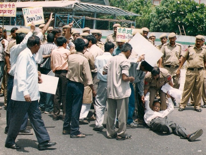 Kashmir Singh, seen fallen in the picture, protesting high-handedness of PTI management.