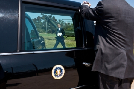 President Barack Obama walks to the motorcade from Marine One after arriving at the Barrington Recreation Center landing zone in Los Angeles, Calif., April 21, 2011. Photo by Pete Souza.