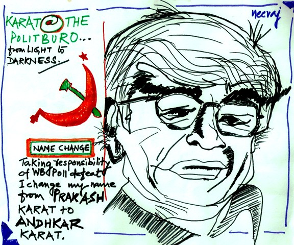 CPM's Prakash Karat caricature-cartoon-illustration after West Bengal Assembly Elections result. By Neeraj Bhushan.