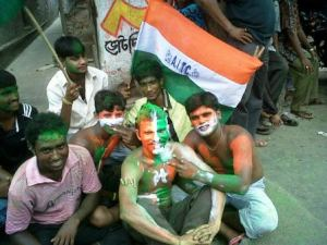 Green Revolution. Photo by Bachi Karkaria who mingled with jubiliants near Mamata Banerjee's house on Friday, the 13th.