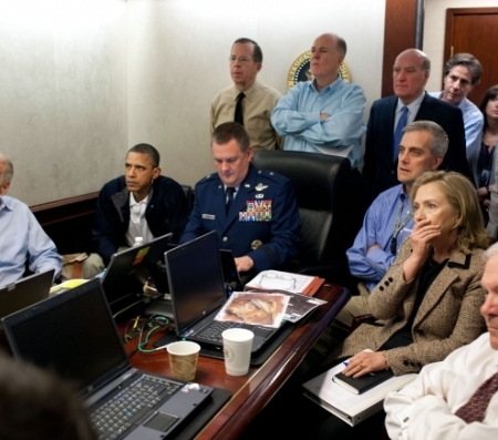 U.S. President Barack Obama along with members of the national security team receive an update on the mission against Osama bin Laden in the Situation Room of the White House. Official White House Photo by Pete Souza.