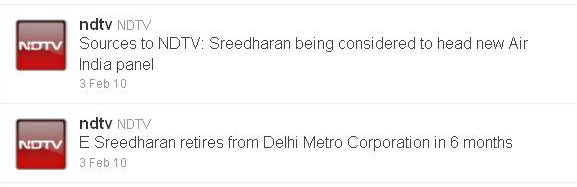 NDTV on Sreedharan