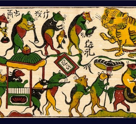 This traditional Vietnamese print depicts corruption in the form of rats bribing a cat in order to celebrate a wedding.