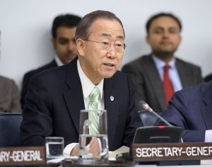 Secretary-General Ban Ki-moon outlines his vision for the next five years to the General Assembly. Photo by Mark Garten
