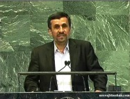 Amadinejad at the UN. Webcapture by Neeraj Bhushan