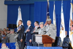 Obama, Biden,  Carter, Dempsey and Austin welcoming final troops home. Photo by Tyrone Marshall Jr.