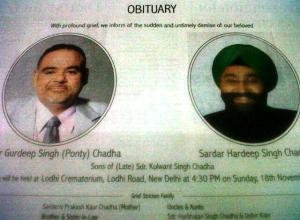 Obituary of Gurdeep (Ponty) Singh Chaddha and brother Hardeep Singh Chaddha