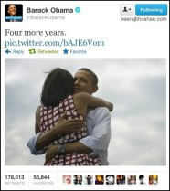 Four More Years - When Obama's team picked out the newly reelected president's victory pic, it didn't expect it to skyrocket into legendary Twitter territory. It became the most popular tweet of all time around the world.