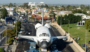 Space shuttle Endeavour on its two-day trek through L.A. city streets. Photo by Wally Skalij.