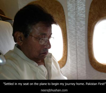 Pervez Musharraf in plane from Dubai to Karachi