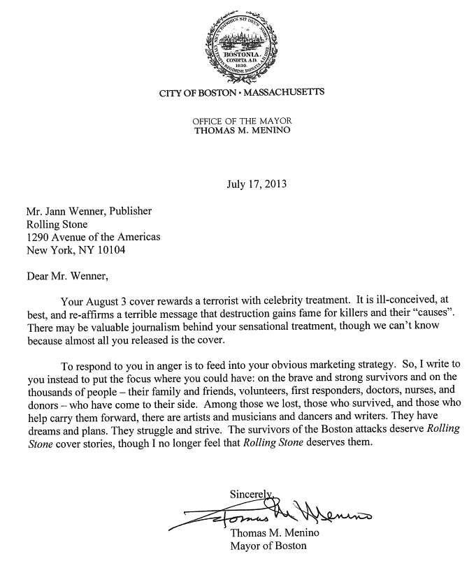Boston Mayor letter to Rolling Stone.