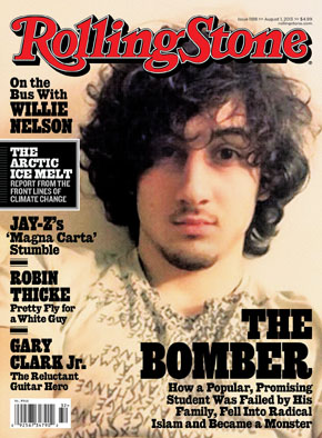 Rolling Stone magazine cover showing Boston Marathon bombing suspect Dzhokhar Tsarnaev.