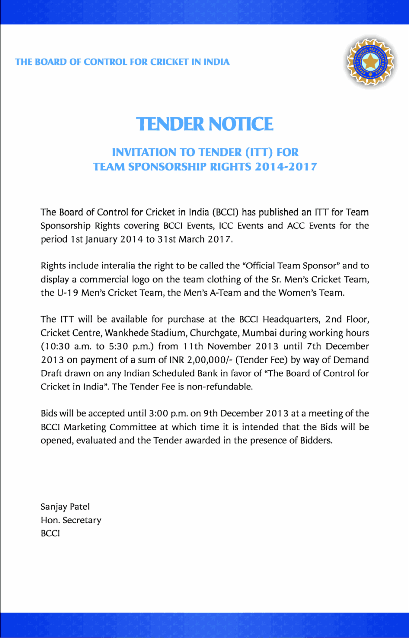 India Cricket Board BCCI Tender Notice for Team India Sponsor Rights 2014 to 2017