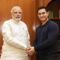Noted film actor and director Aamir Khan calling on the Prime Minister Narendra Modi, in New Delhi on June 23, 2014.