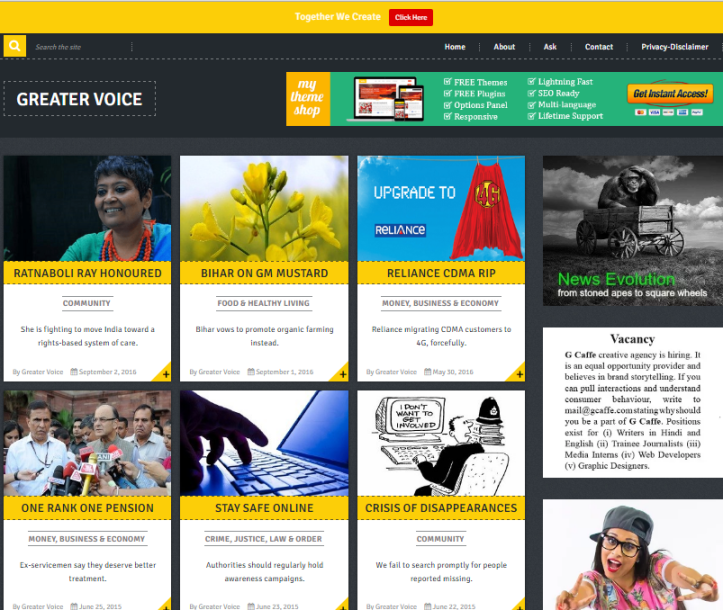 Screenshot of Greater Voice website